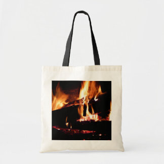 Logs in the Fireplace Warm Fire Photography Tote Bag