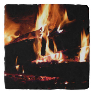 Logs in the Fireplace Warm Fire Photography Trivet
