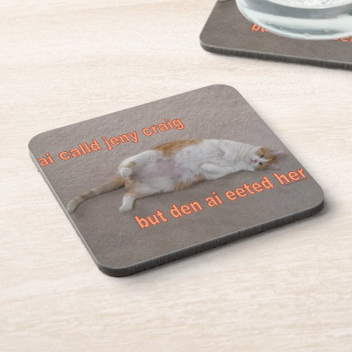 LOL CAT: ai calld jeny craig-but den ai eeted her Coasters