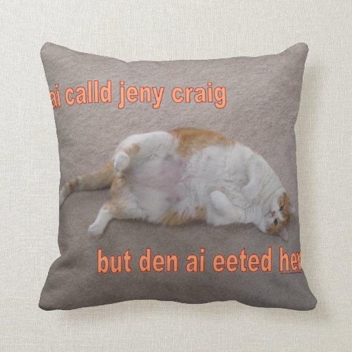 LOL CAT: ai calld jeny craig-but den ai eeted her Pillow