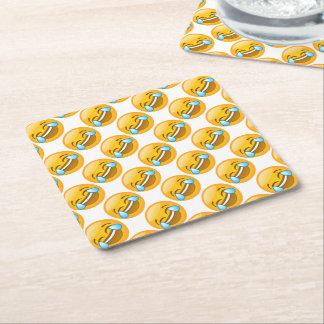 LOL Emojis (white background) Square Paper Coaster