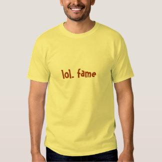 lol. fame (dark orange on daffodil yellow) tshirts
