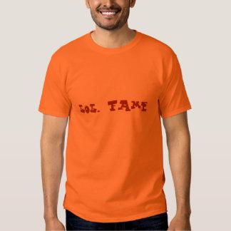 lol. fame (dark orange on safety orange) tee shirt