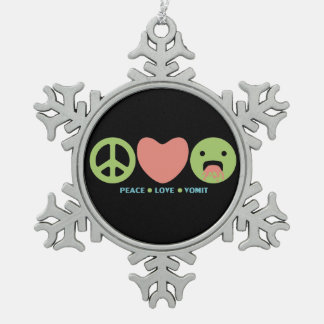 LOL funny smilie peace love vomit Snowflake Pewter Christmas Ornament