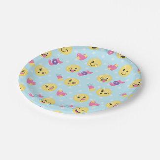 LOL OMG Emoji Pattern 7 Inch Paper Plate