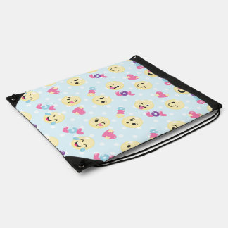 LOL OMG Emoji Pattern Drawstring Bag