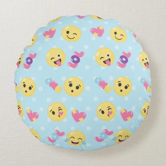 LOL OMG Emoji Pattern Round Cushion