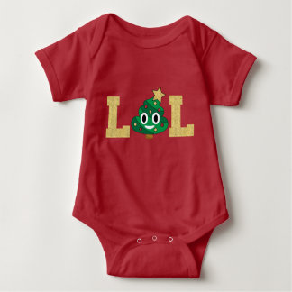LOL Poop Emoji Christmas Tree Baby Bodysuit
