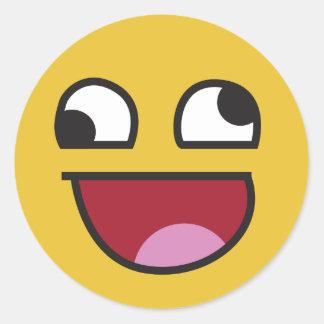 lol smiley goofy eyed emoji classic round sticker