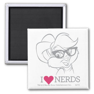 Lola Bunny - I Heart Nerds Square Magnet