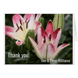 Lollipop Asiatic Lily Flowers and Buds Card