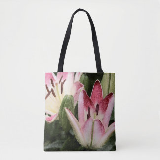 Lollipop Asiatic Lily Flowers and Buds Tote Bag