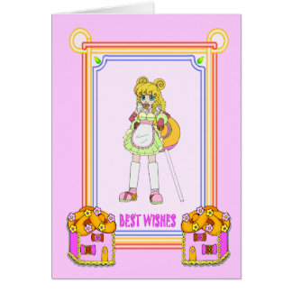Lollipop girl with cookie houses card