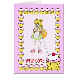 Lollipop girl with cupcakes card