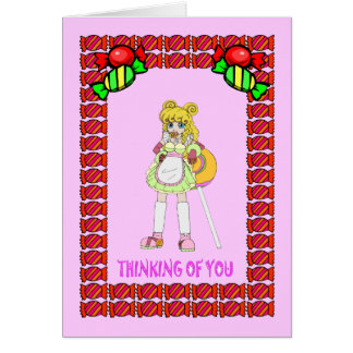 Lollipop girl with toffee card