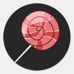 LolliPop red Round Sticker