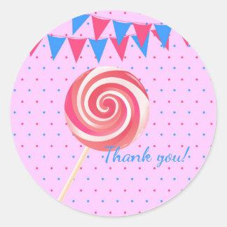 Lollipop Strawberry Birthday Party Classic Round Sticker