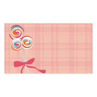 lollipops candy maker baking business card pink