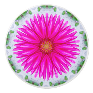Lolly Pink Gerbera Fractal Ceramic Knob