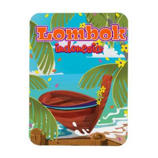 Lombok Island holiday travel poster. Rectangular Photo Magnet