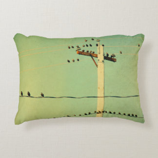 Lomo Green Wired Birds Decorative Cushion