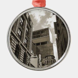 London architecture. Silver-Colored round decoration