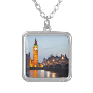 London at night silver plated necklace