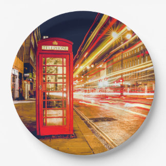 London at Night with British Red Telephone Box 9 Inch Paper Plate