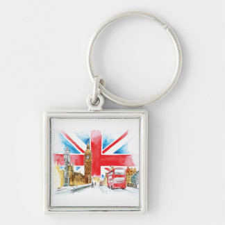 London Big Ben 5.7 cm Basic Button Key Ring