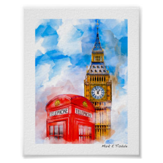 London - Big Ben And Classic phone Box - Mini Poster
