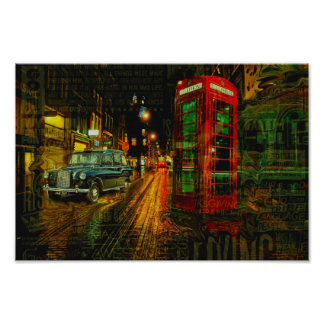 London big ben black cab taxi red telephone box poster
