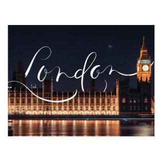 London / Big Ben Calligraphy Postcard