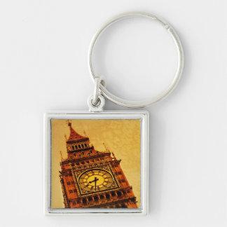 London, Big Ben grunge Silver-Colored Square Key Ring