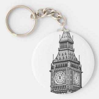 London Big Ben Illustration Basic Round Button Key Ring