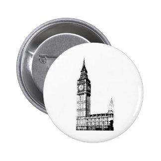 LONDON BIG BEN monotone print Pinback Button