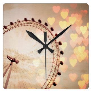 London | Big Ben Photograph Filtered Nightime Square Wall Clock