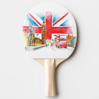 London Big Ben Ping Pong Paddle, Red Rubber Back Ping Pong Paddle