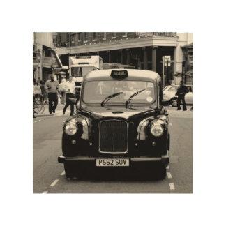 London black and white cab wood wood print