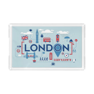 London Blue & Red Icons Acrylic Tray