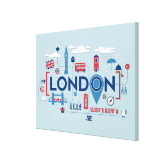 London Blue & Red Icons Canvas Print