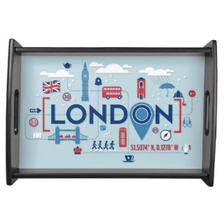 London Blue & Red Icons Serving Tray