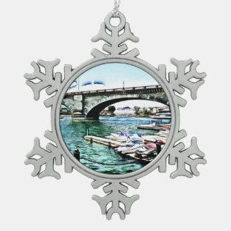 London Bridge at Lake Havasu City, Arizona Snowflake Pewter Christmas Ornament