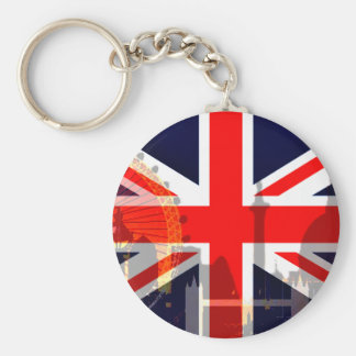 London-British Flag_ Basic Round Button Key Ring
