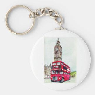 London Bus and Big Ben Basic Round Button Key Ring
