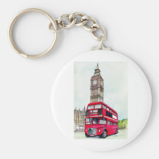 London Bus and Big Ben Key Ring