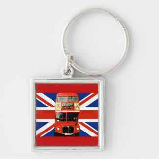 London Bus and British Flag Key Ring