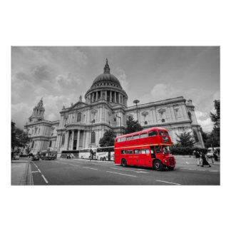 London bus and St Paul's Cathedral Poster