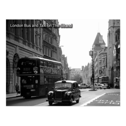 london bus and taxi postcard