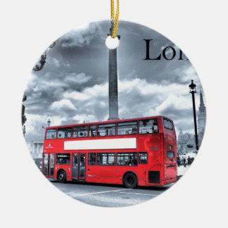 LONDON BUS in Black & White (St.K) Ceramic Ornament