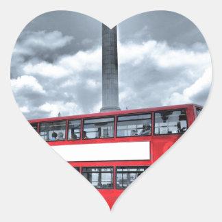 LONDON BUS in Black & White (St.K) Heart Sticker
